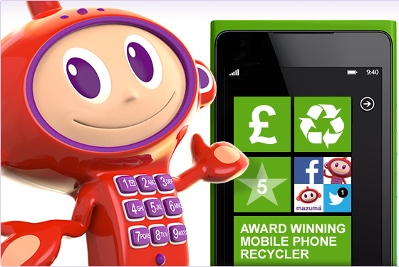 Maz 3d character render, standing next to a mobile phone